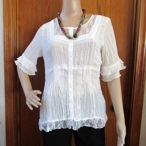 NY Collection Sheer White Blouse